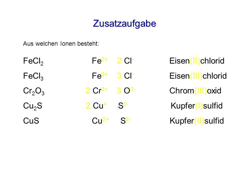 Zusatzaufgabe FeCl2 Fe2+ 2 Cl- Eisen(II)chlorid