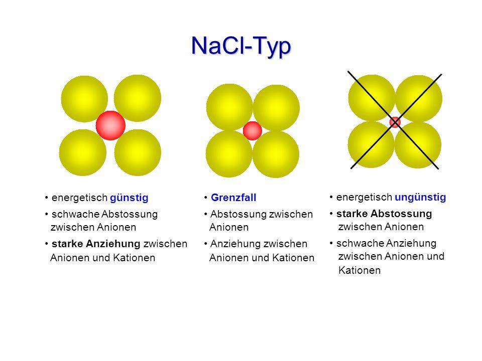 NaCl-Typ energetisch günstig schwache Abstossung zwischen Anionen