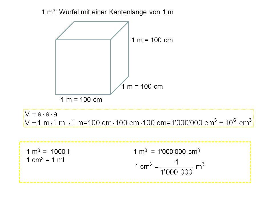 1 m3: Würfel mit einer Kantenlänge von 1 m