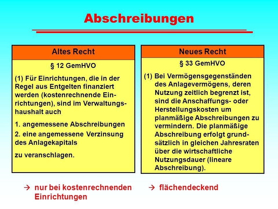 Abschreibungen Altes Recht Neues Recht § 12 GemHVO