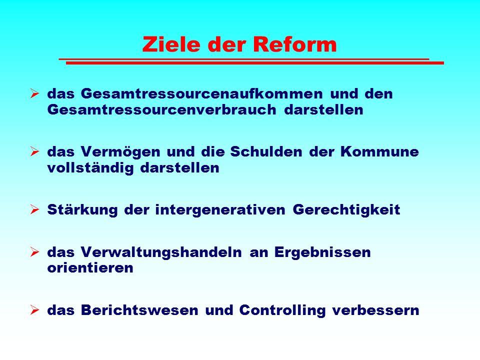 Ziele der Reform das Gesamtressourcenaufkommen und den Gesamtressourcenverbrauch darstellen.