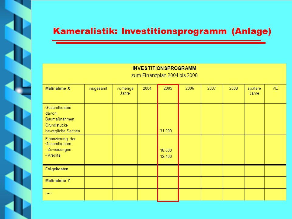 Kameralistik: Investitionsprogramm (Anlage) INVESTITIONSPROGRAMM
