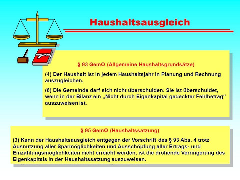 Haushaltsausgleich § 93 GemO (Allgemeine Haushaltsgrundsätze)