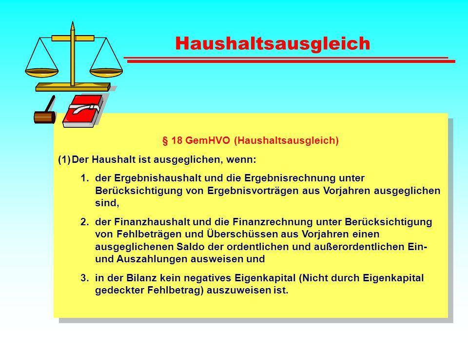 § 18 GemHVO (Haushaltsausgleich)