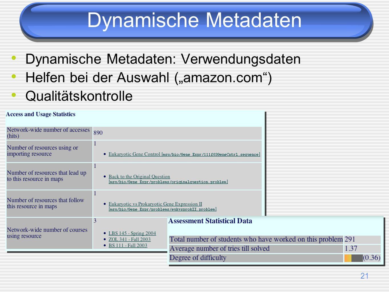 Dynamische Metadaten Dynamische Metadaten: Verwendungsdaten