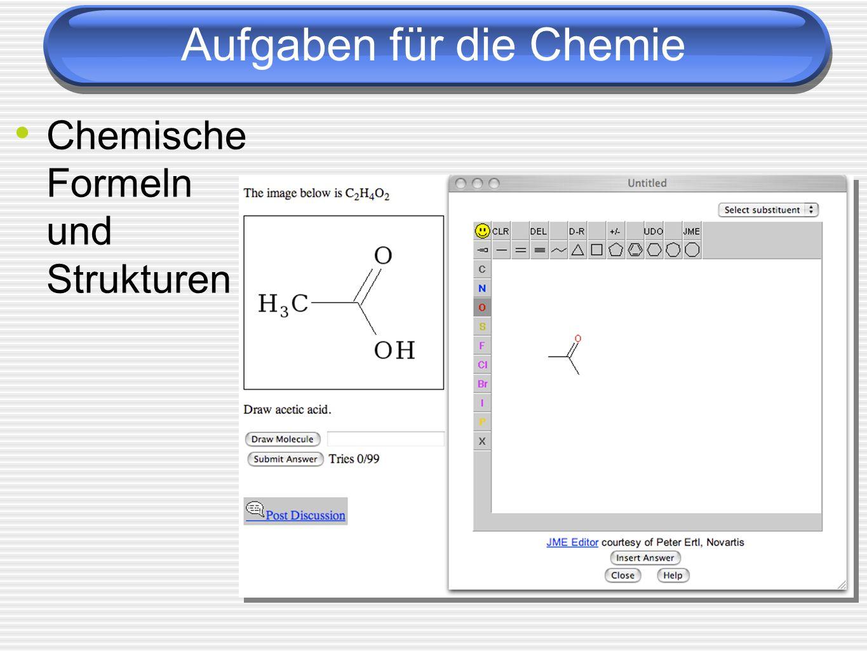 Aufgaben für die Chemie