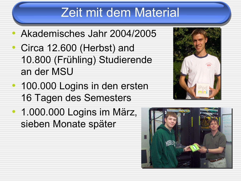 Zeit mit dem Material Akademisches Jahr 2004/2005