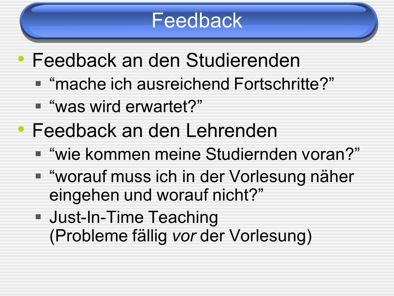 Feedback Feedback an den Studierenden Feedback an den Lehrenden