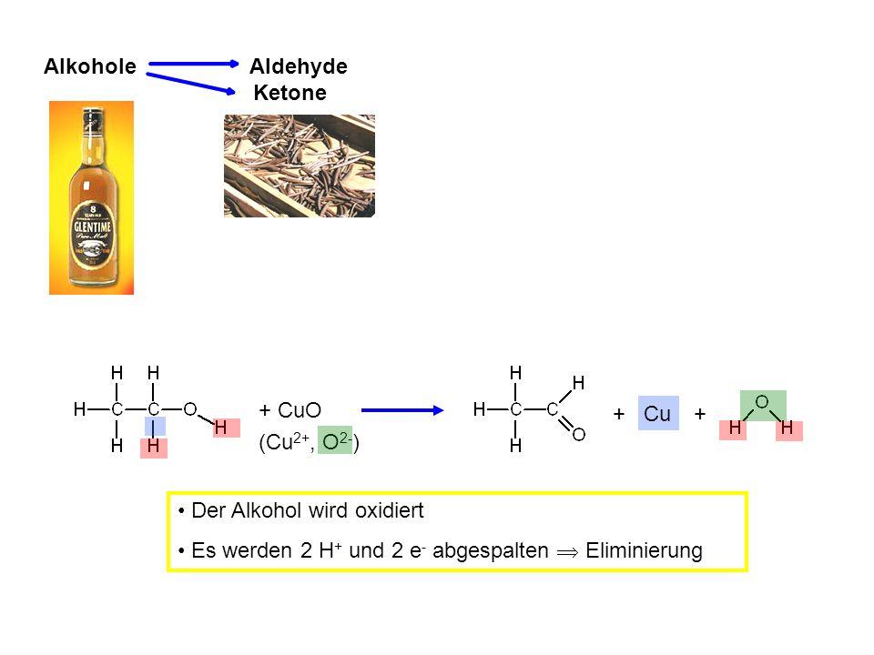 Alkohole Aldehyde. Ketone. + CuO. + Cu. + (Cu2+, O2-) Der Alkohol wird oxidiert.