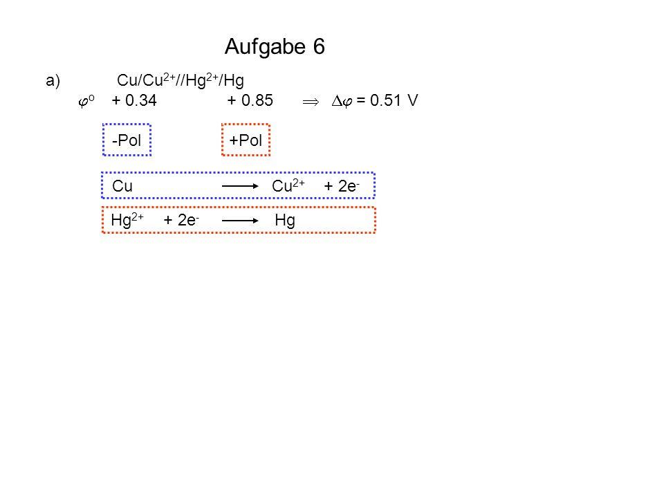 Aufgabe 6 Cu Cu2+ + 2e- Hg2+ + 2e- Hg S2- S + 2e- I2 + 2e- 2 I-