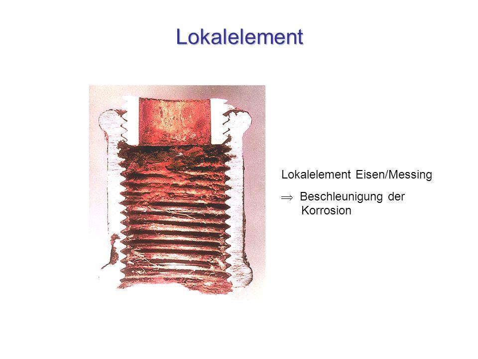 Lokalelement Lokalelement Eisen/Messing  Beschleunigung der Korrosion