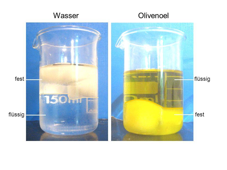 Wasser Olivenoel flüssig fest