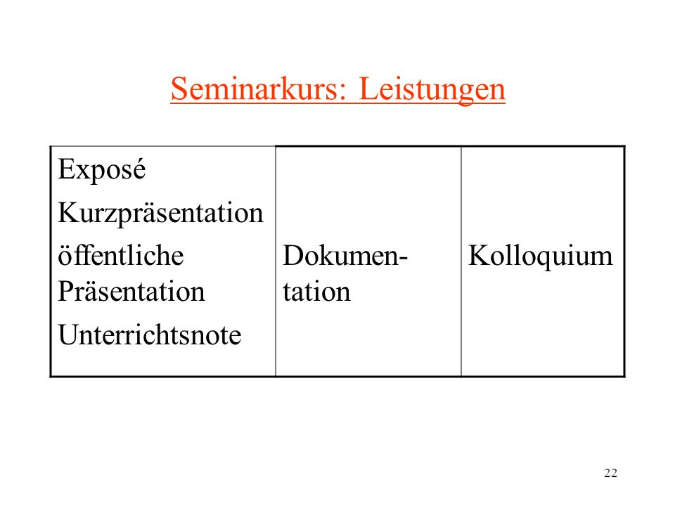 Seminarkurs: Leistungen