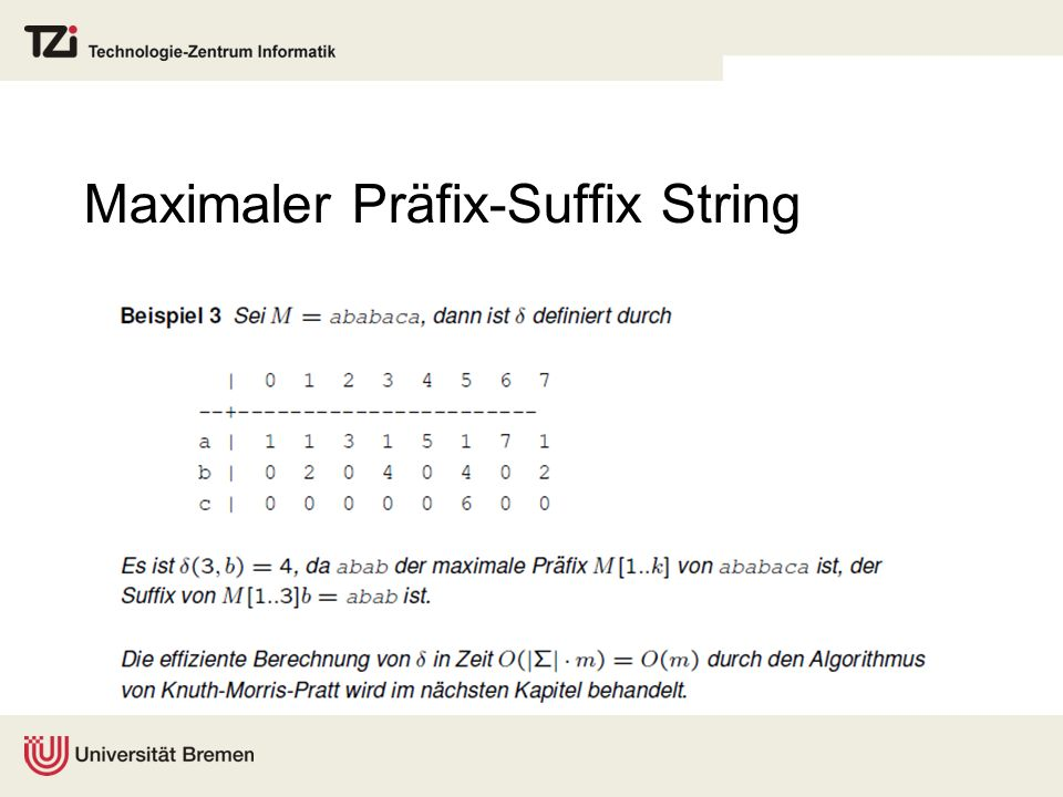 Maximaler Präfix-Suffix String