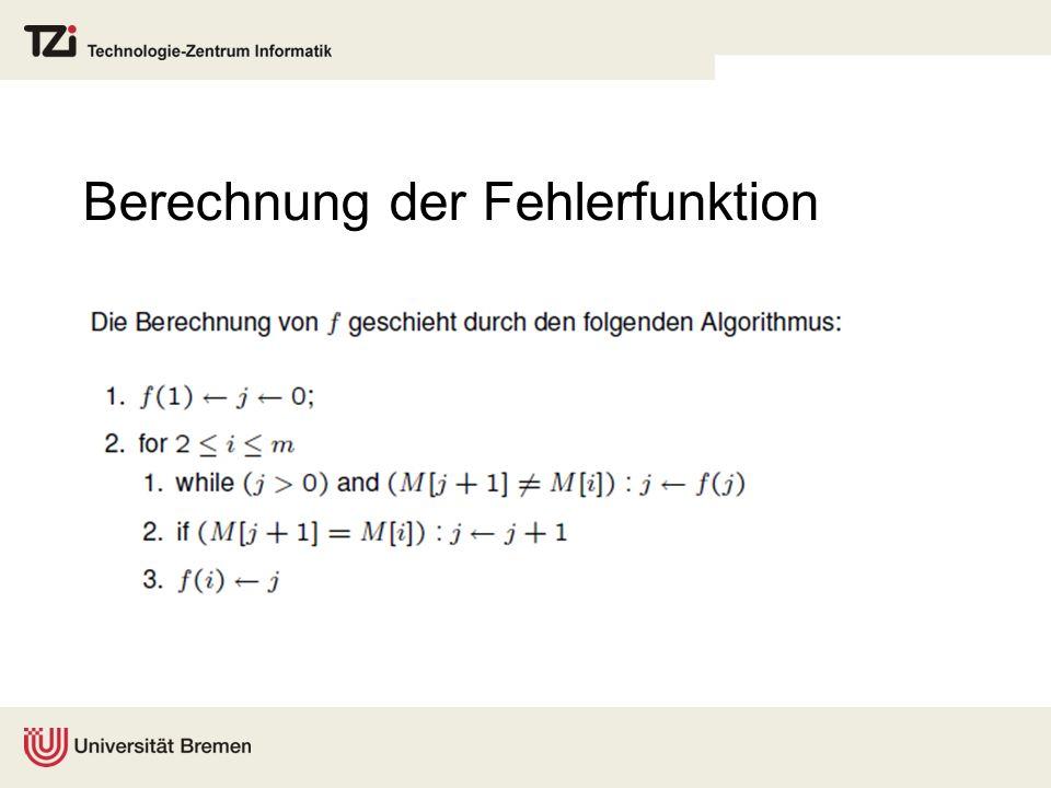Berechnung der Fehlerfunktion