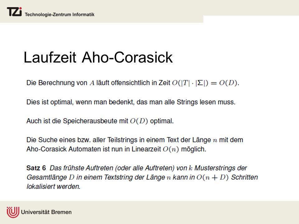 Laufzeit Aho-Corasick