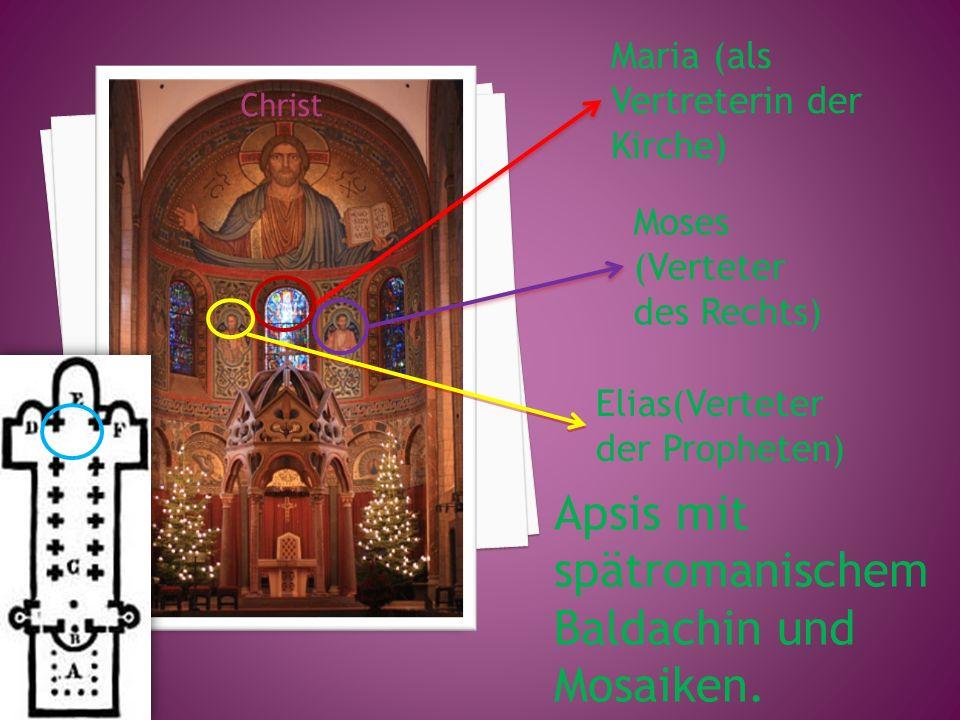 Apsis mit spätromanischem Baldachin und Mosaiken.