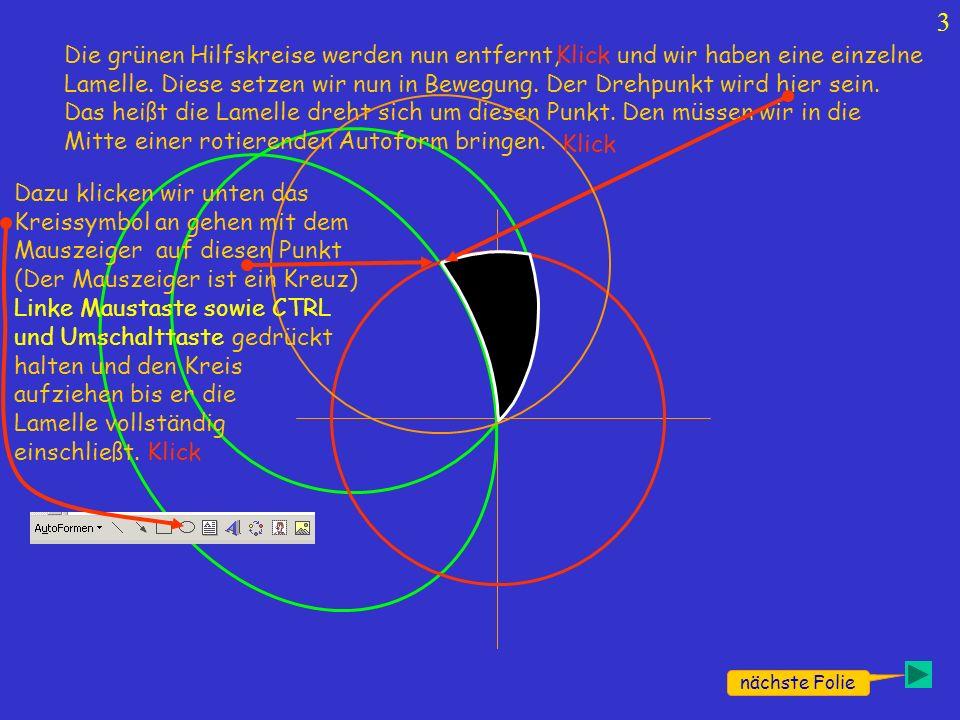 Den Kreis nun noch ohne Rand machen; Kreis und Lamelle Gruppieren!