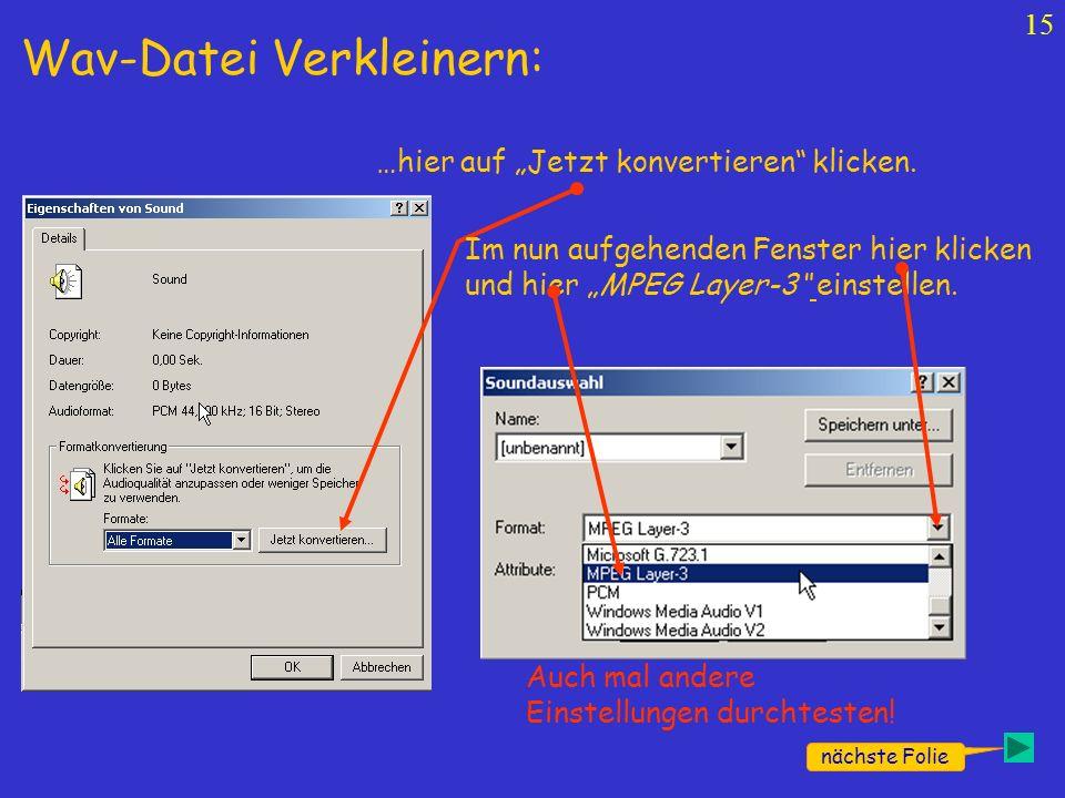 Wav-Datei Verkleinern: