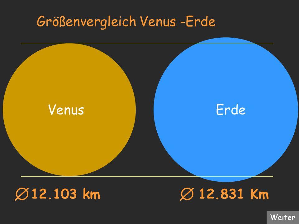 Größenvergleich Venus -Erde