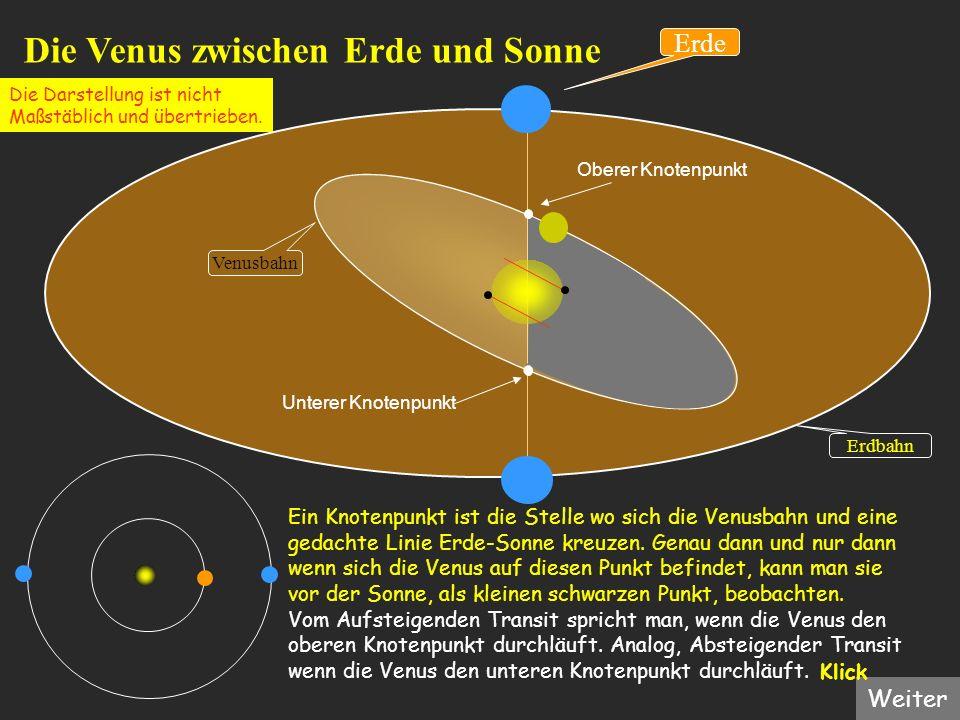Die Venus zwischen Erde und Sonne