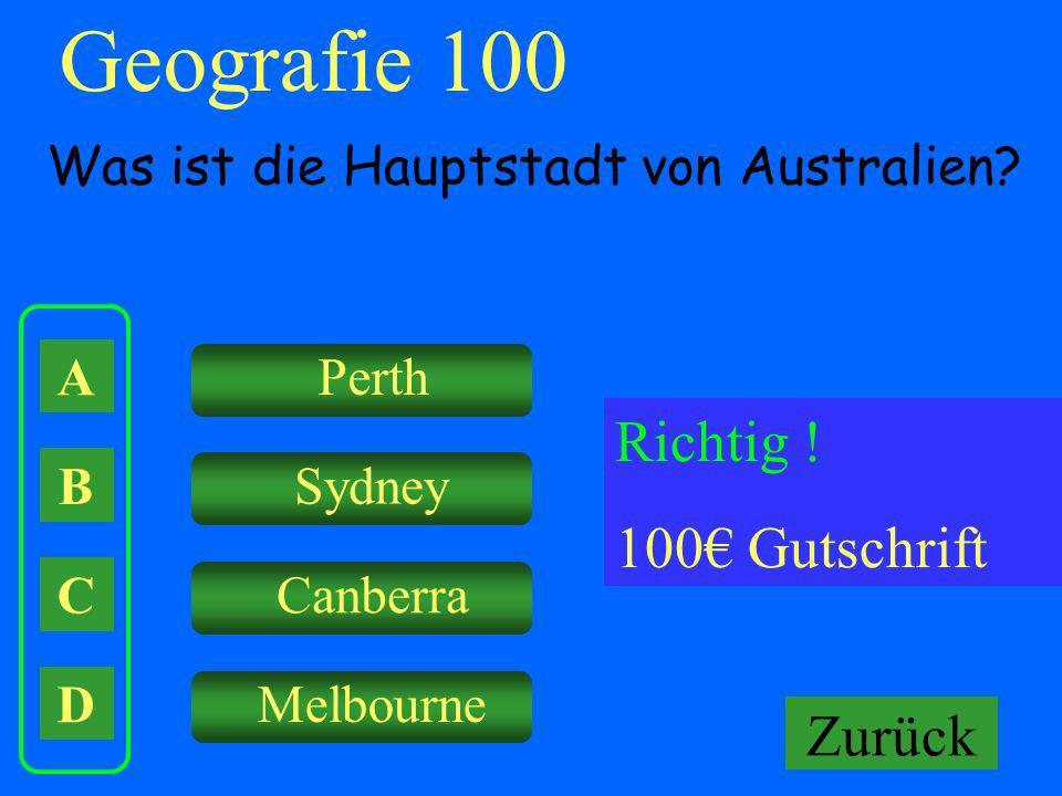 Geografie 100 Richtig ! 100€ Gutschrift Falsch ! Keine Gutschrift
