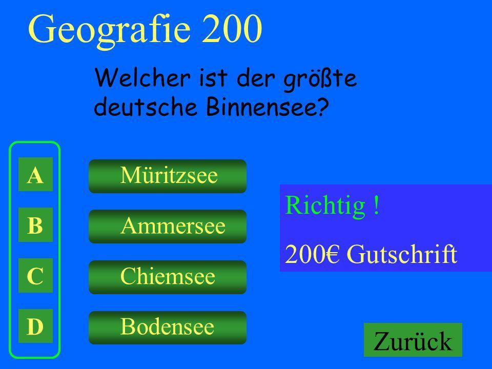 Geografie 200 Falsch ! Keine Gutschrift Richtig ! 200€ Gutschrift