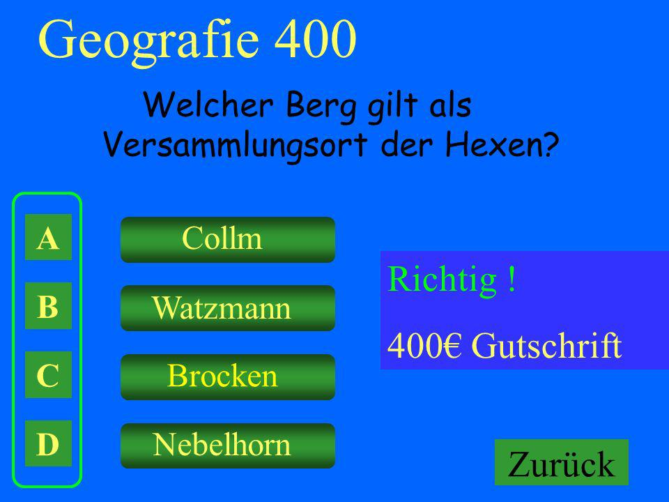 Geografie 400 Richtig ! 400€ Gutschrift Falsch ! Keine Gutschrift