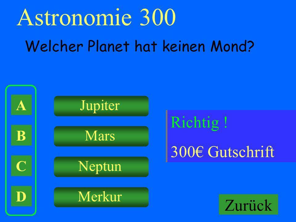 Astronomie 300 Falsch ! Keine Gutschrift Richtig ! 300€ Gutschrift