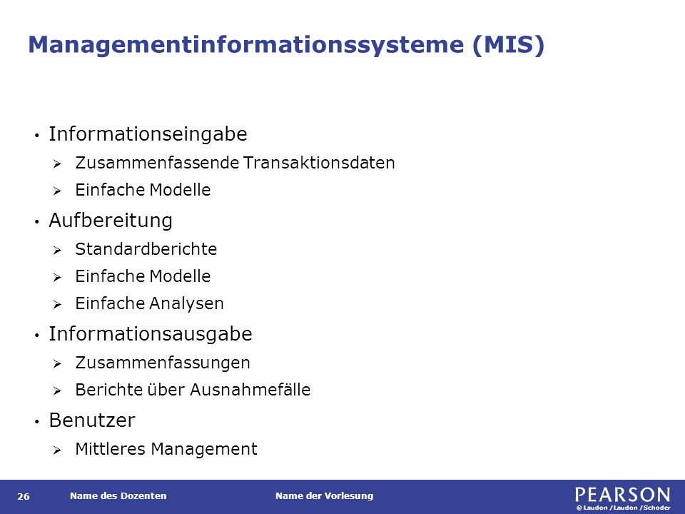 Managementinformationssysteme (MIS)