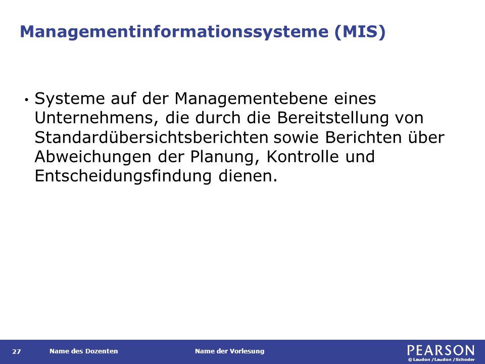 Das Zusammenspiel von MIS und operativen Systemen