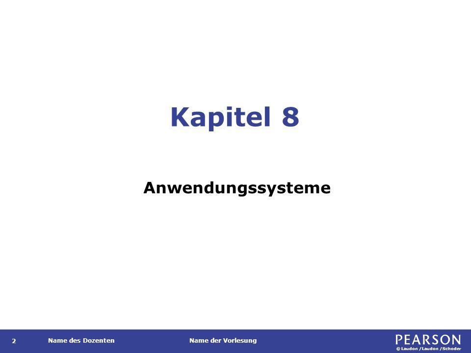 Gegenstand Darstellung der Rollen der verschiedenen Typen von Anwendungssystemen.