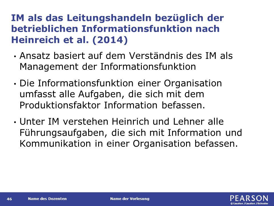 Die Aufgaben des Informationsmanagements nach Heinrich et al., 2014.