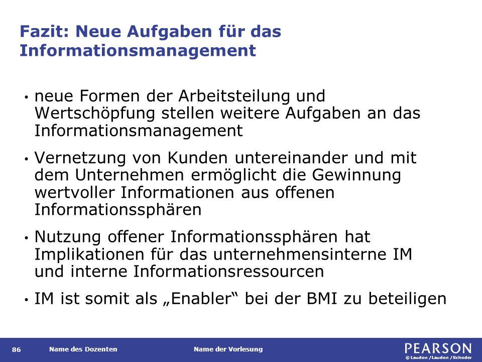Zusätzliche Betrachtungsschwerpunkte im Informationsmanagement 2.0