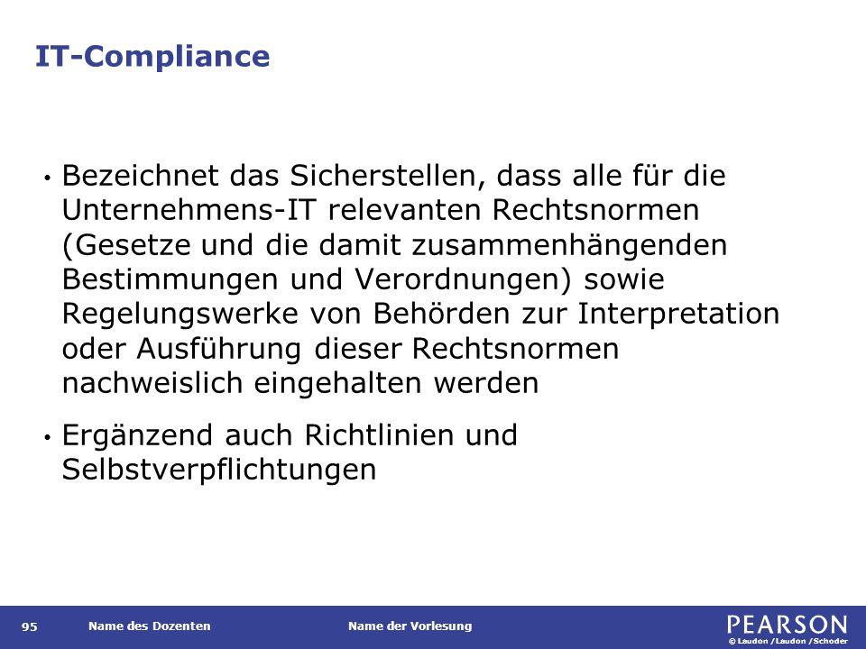 IT-Compliance Kernbereiche der an Unternehmen gerichteten Compliance-Anforderungen umfassen. das Sicherheits- und Risikomanagement,