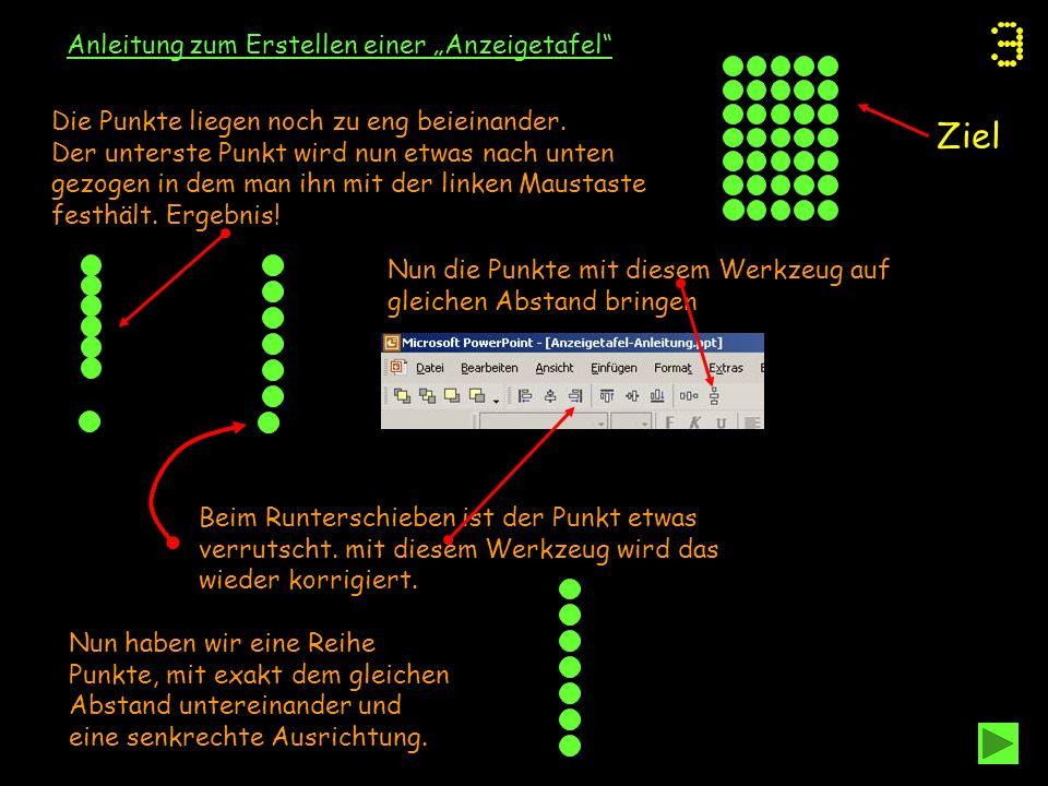 """Ziel Anleitung zum Erstellen einer """"Anzeigetafel"""