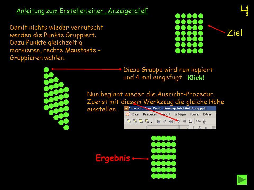 """Ziel Ergebnis Anleitung zum Erstellen einer """"Anzeigetafel"""
