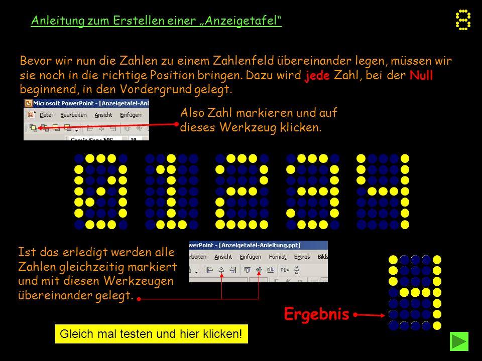 """Ergebnis Anleitung zum Erstellen einer """"Anzeigetafel"""