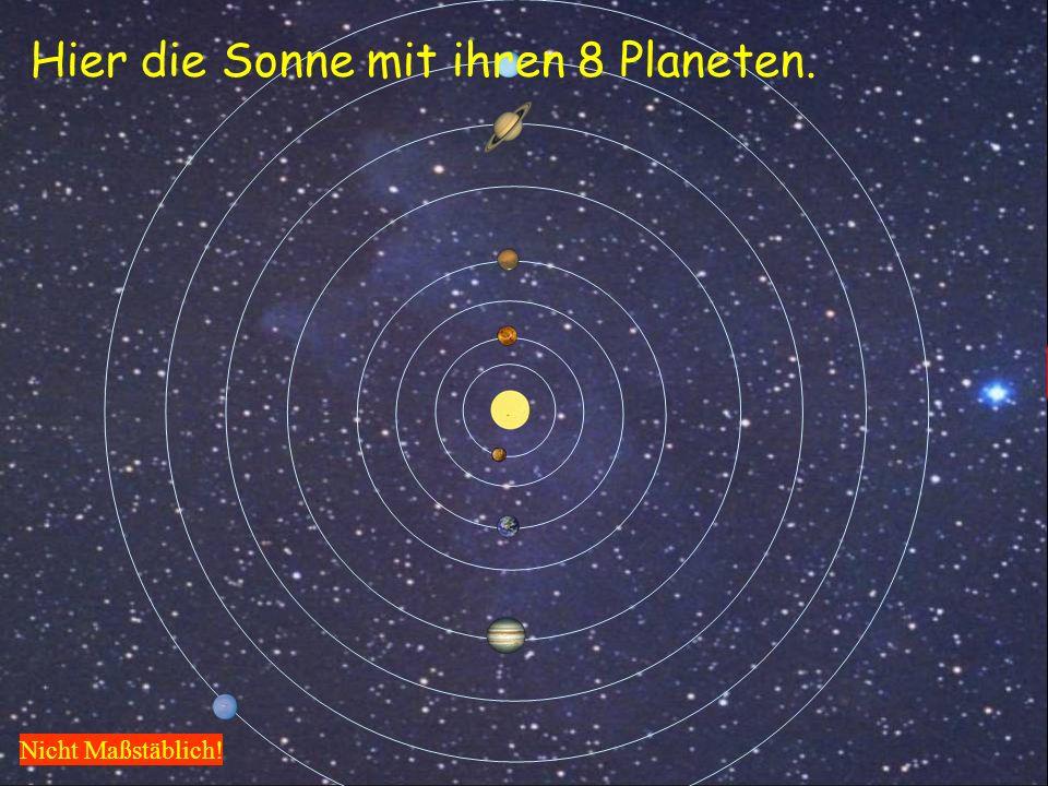 Hier die Sonne mit ihren 8 Planeten.
