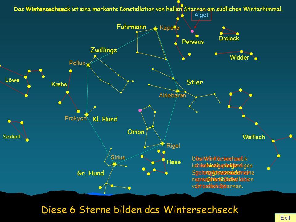Diese 6 Sterne bilden das Wintersechseck