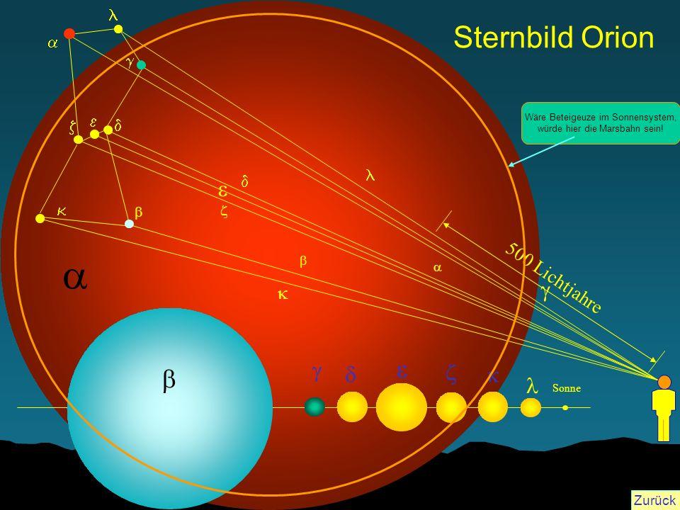 a Sternbild Orion e b e g g d z k l 500 Lichtjahre k l a g e z d l d k