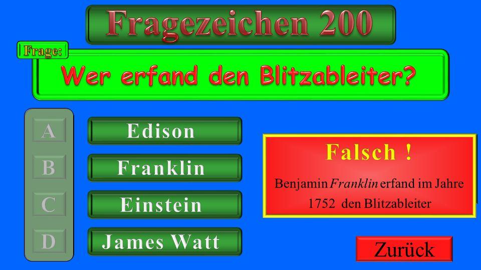 Benjamin Franklin erfand im Jahre 1752 den Blitzableiter