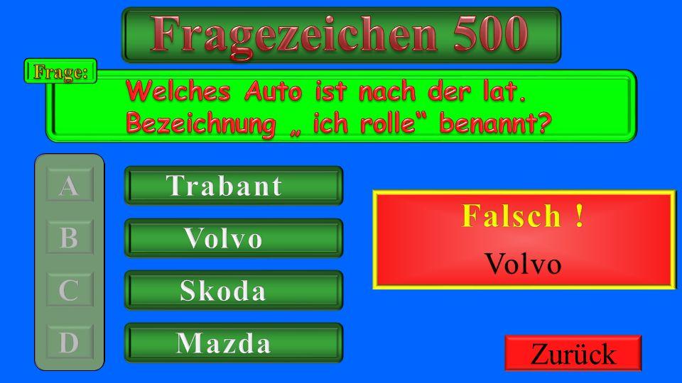 Fragezeichen 500 Richtig ! Falsch ! Trabant 500€ Gutschrift Volvo