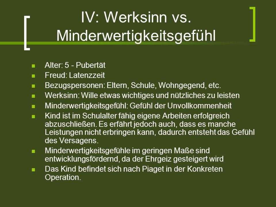 IV: Werksinn vs. Minderwertigkeitsgefühl