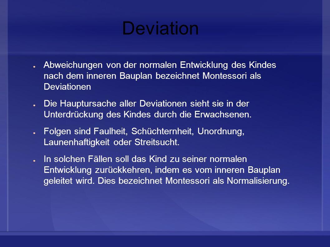DeviationAbweichungen von der normalen Entwicklung des Kindes nach dem inneren Bauplan bezeichnet Montessori als Deviationen.