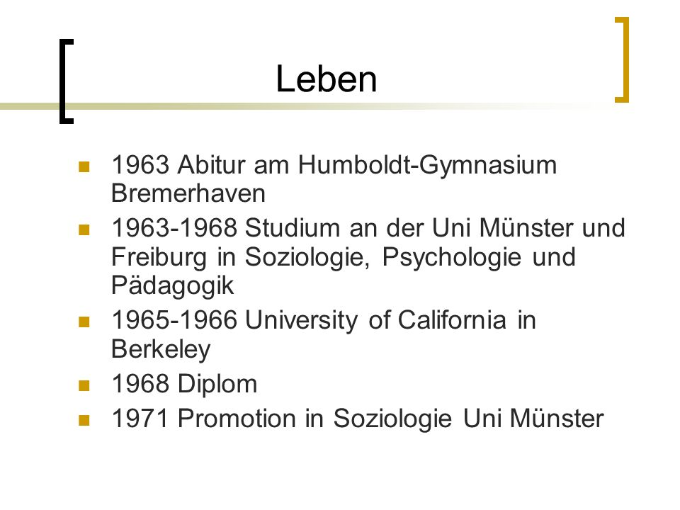 Leben 1963 Abitur am Humboldt-Gymnasium Bremerhaven