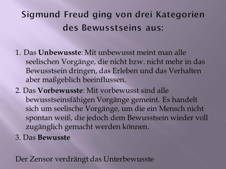 Sigmund Freud ging von drei Kategorien des Bewusstseins aus: