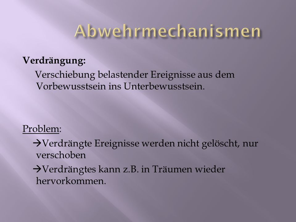 Abwehrmechanismen Verdrängung: