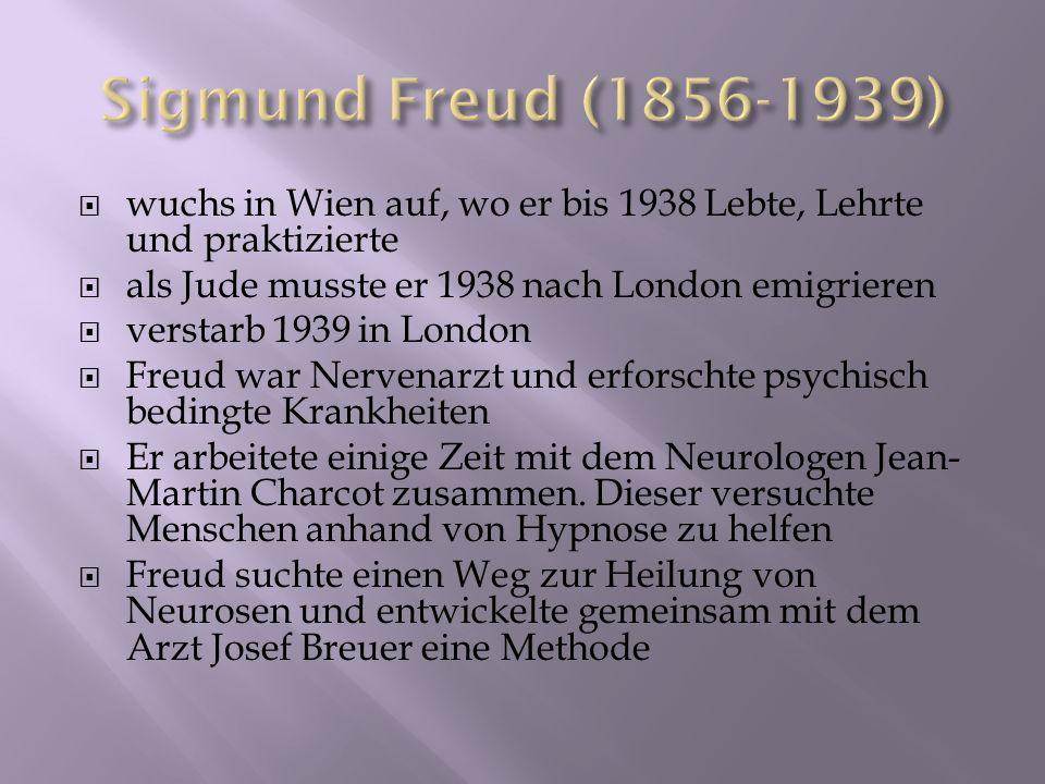 Sigmund Freud (1856-1939) wuchs in Wien auf, wo er bis 1938 Lebte, Lehrte und praktizierte. als Jude musste er 1938 nach London emigrieren.