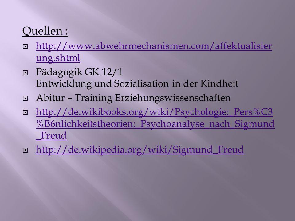 Quellen : http://www.abwehrmechanismen.com/affektualisierung.shtml